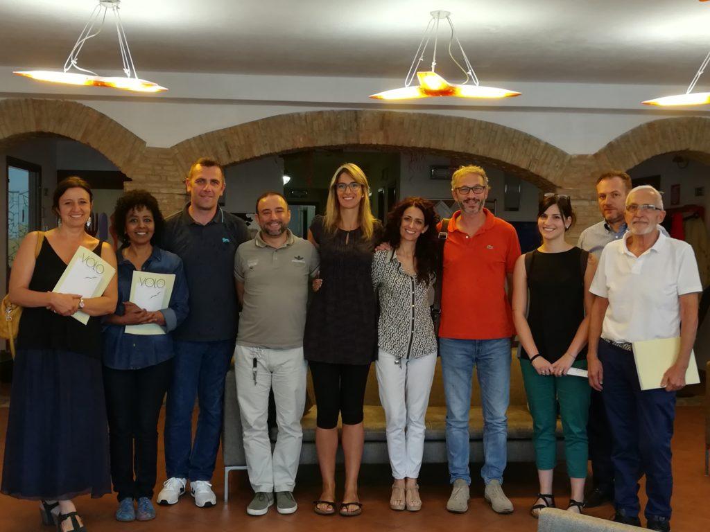 Il Comitato di Direzione de IL VOLO ONLUS e l'èquipe del Progetto Du Parc in visita a Villa Ratti